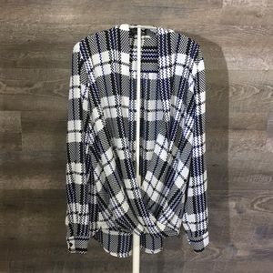 {Pleione} plaid blouse